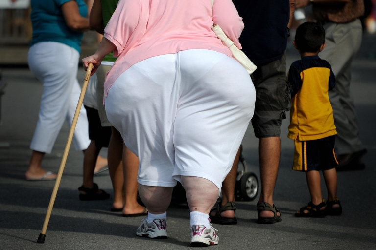 <p>An overweight woman walks at the 61st Montgomery County Agricultural Fair on August 19, 2009 in Gaithersburg, Maryland.</p>