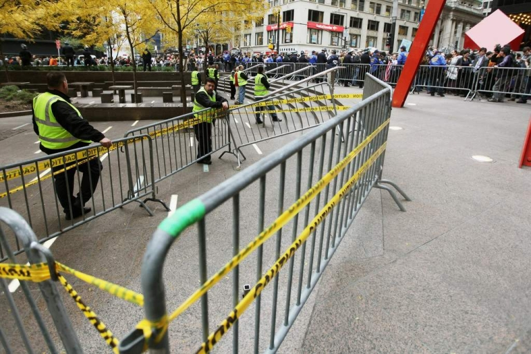 <p>Occupy Wall Street activists protest outside Zuccotti Park after police removed the protesters early in the morning from Zuccotti Park on November 15, 2011 in New York City.</p>