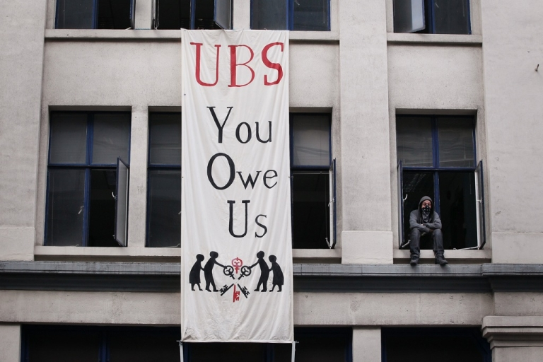 <p>Occupy London protestors  in an unused building owned by UBS bank on November 18, 2011.</p>