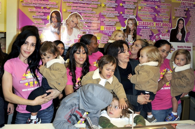 <p>Octomum Nadya Suleman and her large family plus helpers launch their signature Milkshake at 'Millions of Milkshakes' on November 10, 2010, in West Hollywood, California.</p>