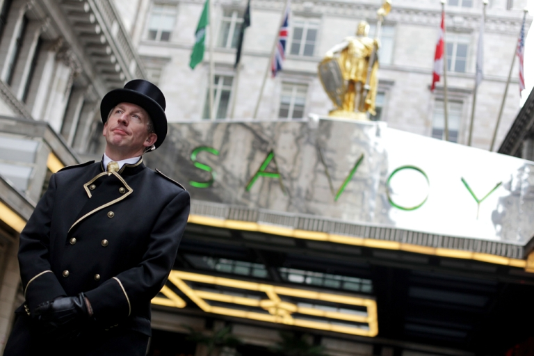 <p>A doorman stands outside the famous Savoy hotel in London, England. Bev Oda, a Canadian politician in charge of international co-operation, is in hot water for billing taxpayers $1,400 to stay there last June.</p>