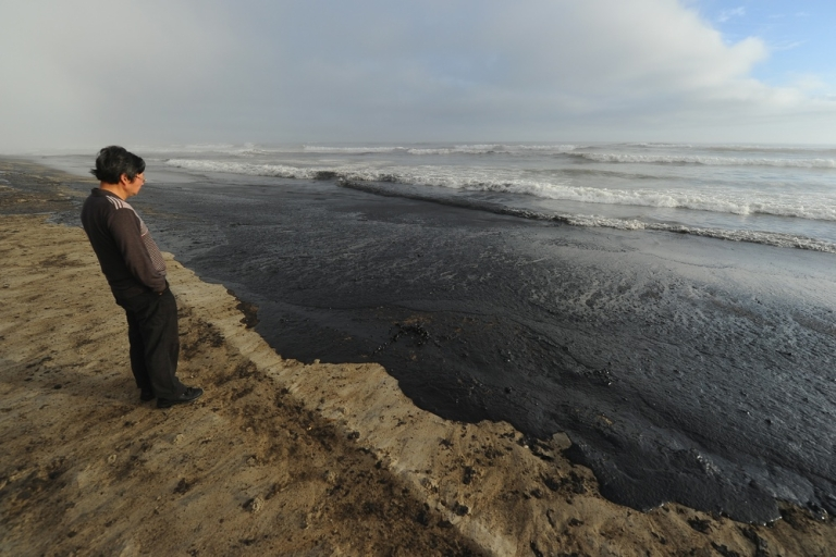 <p>It makes the world go 'round. It's also really messy when it leaks out. Here, a recent (non-Chevron) spill washes ashore in New Zealand.</p>