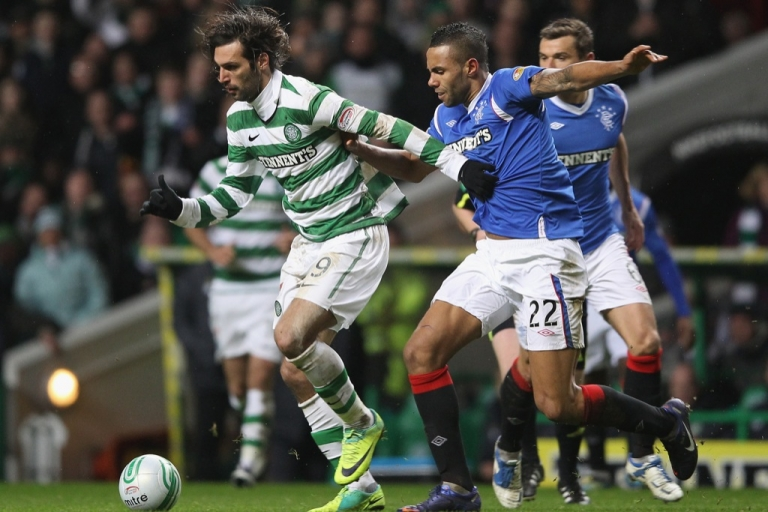 <p>Action in the most recent Rangers-Celtic