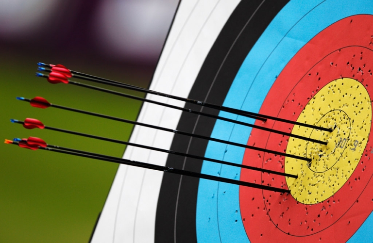 <p>Arrows in the target on the practice range during the London Archery Classic at Lord's Cricket Ground on October 4, 2011 in London.</p>