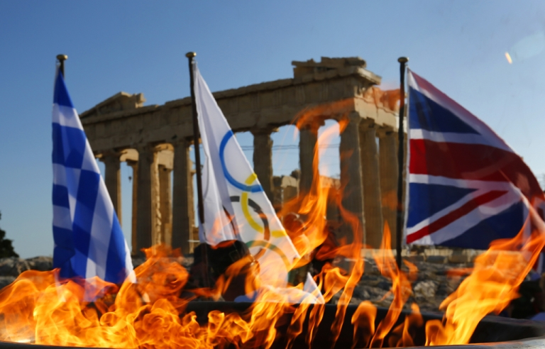 <p>The Olympic flame burns in a cauldron atop the Athens Acropolis on May 16, 2012 in Athens, Greece. The Olympic flame with be handed over to London during a handing over ceremony that will be held in Athens on Thursday May 17.</p>