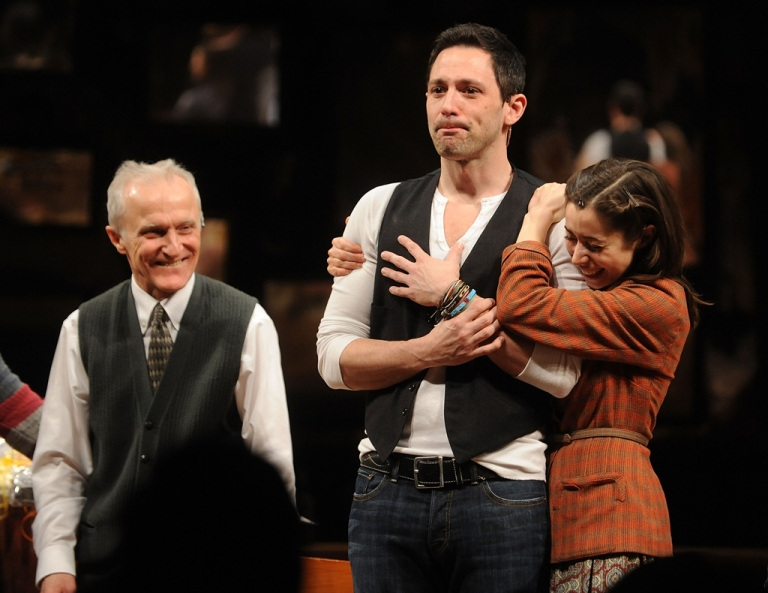 <p>Steve Kazee (C) and Christin Milioti on stage after the opening night of