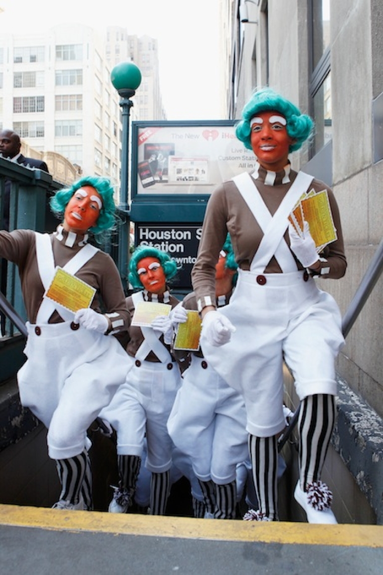 <p>Oompa Loompas hands out Golden Tickets for the '40th Anniversary of Willy Wonka &amp; The Chocolate Factory' event on October 18, 2011 in New York City. British police say a man was beaten by men dressed as Oompa Loompas in Norwich, Norfolk.</p>