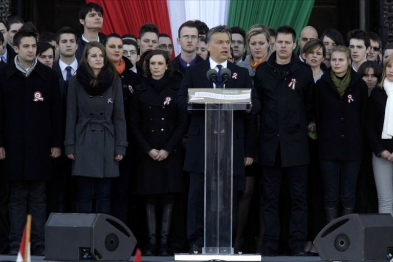 <p>Hungarian Prime Minister Viktor Orban delivering his broadside against the EU yesterday in Budapest.</p>