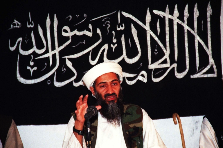 <p>This undated file picture shows Osama bin Laden speaking at an undisclosed place inside Afghanistan.</p>