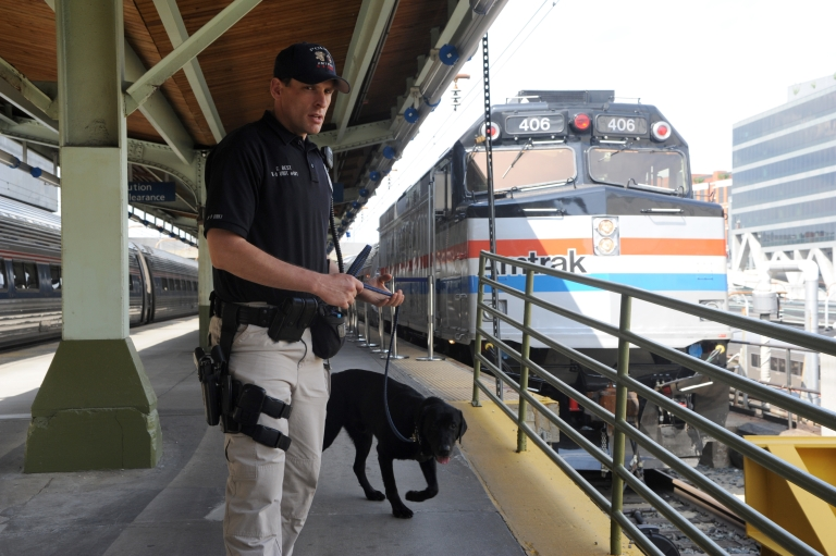 <p>An Amtrak police officer and a sniffer dog patrol Union Station in Washington on May 6, 2011, five days after al-Qaeda head Osama bin Laden was killed by US Navy Seals in Pakistan. Intelligence seized from bin Laden's compound showed his al-Qaeda network pondered strikes on US trains on the 10th anniversary of the September 11 attacks, US officials said.</p>