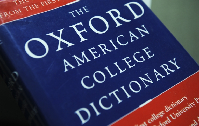 <p>View of the Oxford American College dictionary. The dictionary voted
