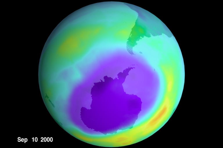 <p>NASA scientists say the ozone hole size peaked in September 2000.</p>
