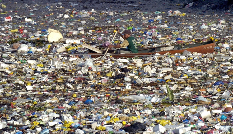 <p>Hawaii has banned the use of plastic bags at grocery stores in an effort to help the environment. Here a scavenger in a dugout canoe paddles through a sea of garbage along a Manila waterway.</p>