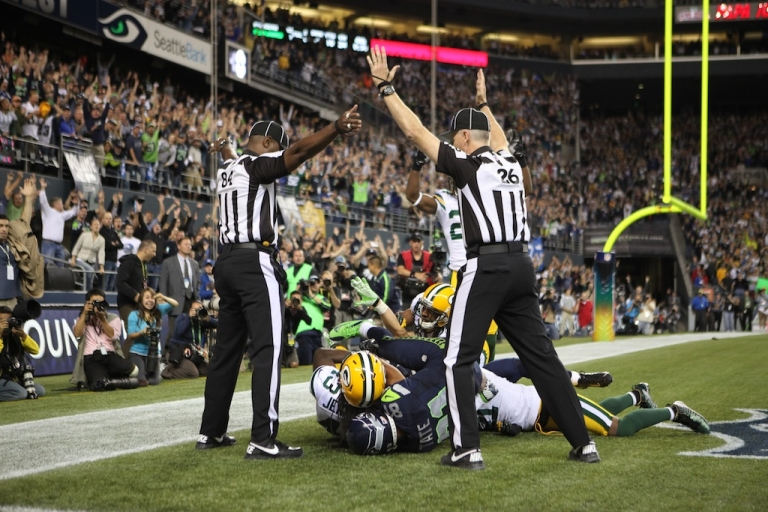 <p>Wide receiver Golden Tate (81) of the Seattle Seahawks battles MD Jennings of the Green Bay Packers for the ball on September 24, 2012 in Seattle during Monday Night Football.</p>