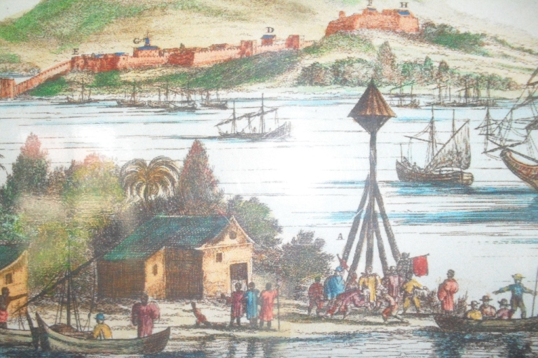 <p>Painting of Trujillo depicting town shortly after Columbus' arrival.</p>