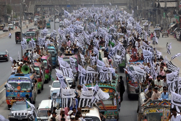 <p>Supporters of The Defense of Pakistan coalition take part in a protest rally from Lahore to Islamabad.  They oppose their country's anti-terror alliance with Washington and are angered by the reopening of a NATO supply route to Afghanistan.</p>