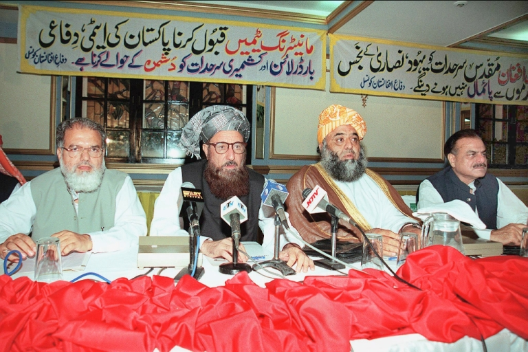 <p>Maulana Samiul Haq, pictured third from the left, at a 2001 meeting of Pakistan's religious party leaders.</p>