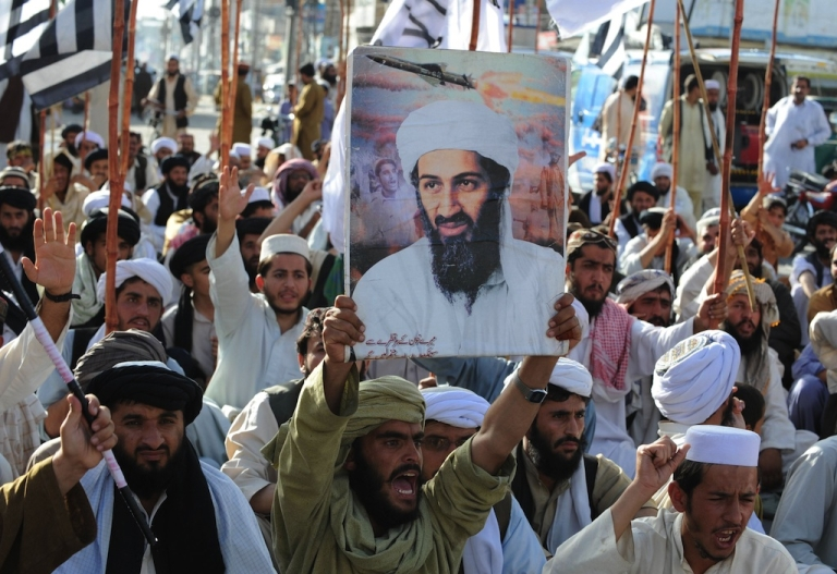 <p>Supporters of hardline pro-Taliban party Jamiat Ulema-i-Islam-Nazaryati (JUI-N) shout anti - U.S. slogans during a protest in Quetta on May 2, 2011, after the killing of Osama Bin Laden by U.S. Special Forces in a ground operation in Pakistan's hill station of Abbottabad.</p>