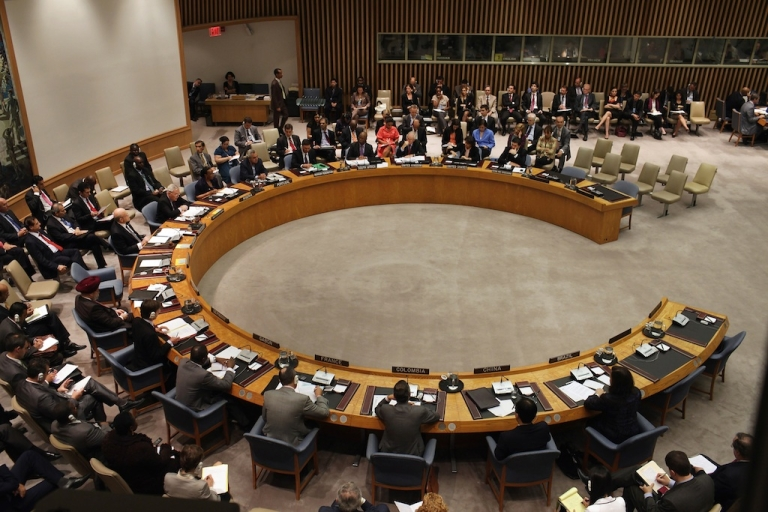 <p>Members of the United Nations Security Council meet in New York on September 2011. France wants the Security Council to adopt a resolution giving Syria an ultimatum on its chemical weapons, but Russia is resistant.</p>