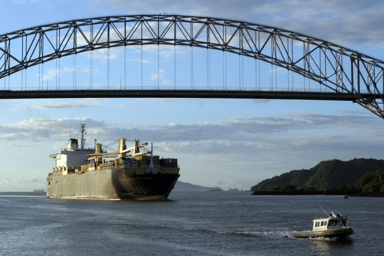 <p>A ship sails through the Pacific Ocean's entry to the Panama Canal on Oct. 19, 2006.</p>