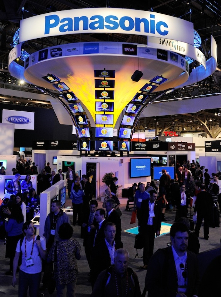 <p>A general view of the Panasonic booth at the 2012 International Consumer Electronics Show at the Las Vegas Convention Center on January 10, 2012.</p>
