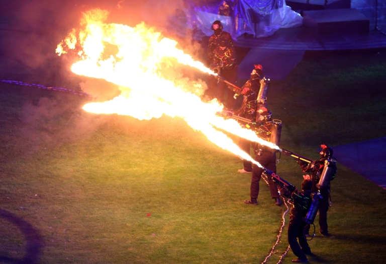 <p>Flame throwers light up the arena during the closing ceremony on day 11 of the London 2012 Paralympic Games at Olympic Stadium on September 9, 2012 in London, England.</p>