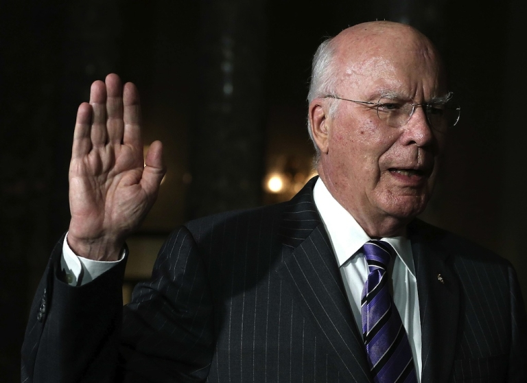 <p>Sen. Patrick Leahy (D-VT) is sworn in as President pro tempore of the U.S. Senate, by Vice President Joseph Biden during a reenactment ceremony in the Old Senate Chamber, on December 18, 2012 in Washington, DC.</p>