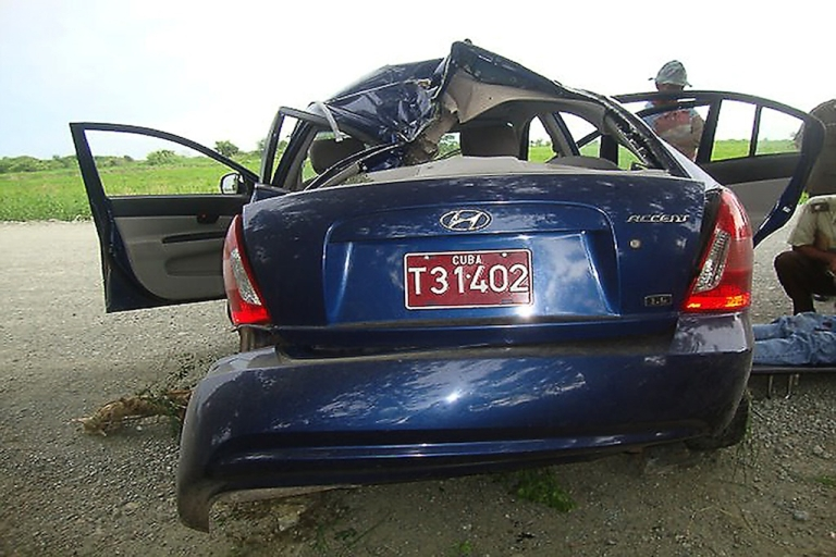 <p>Picture released by Cuban TV from the Interior Ministry show the crashed car of Oswaldo Paya.</p>