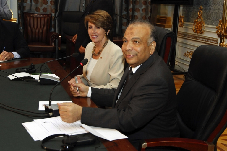 <p>US congressional minority leader Nancy Pelosi meets with Egypt's Islamist Parliament Speaker Saad al-Katatni (R) in Cairo today  to discuss the issue of foreign funding for NGOs.</p>