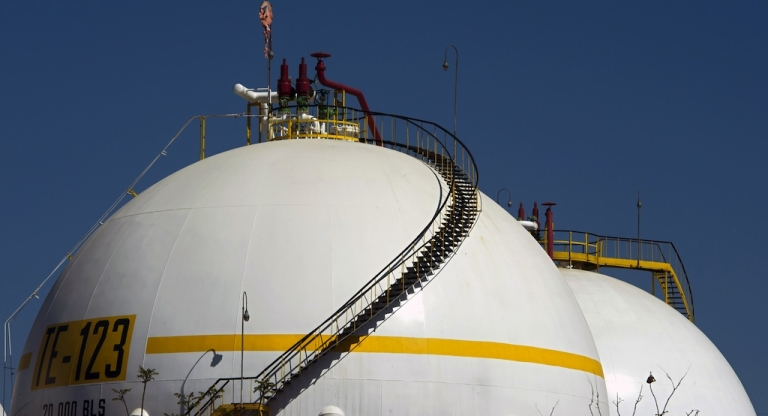 <p>View of a tank containing gas at a Pemex refinery in Tula, Hidalgo state, Mexico on March 8, 2011</p>
