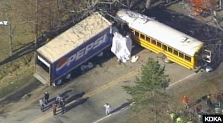<p>A school bus collided with a tractor-trailer in western Pennsylvania on March 14, 2012.</p>