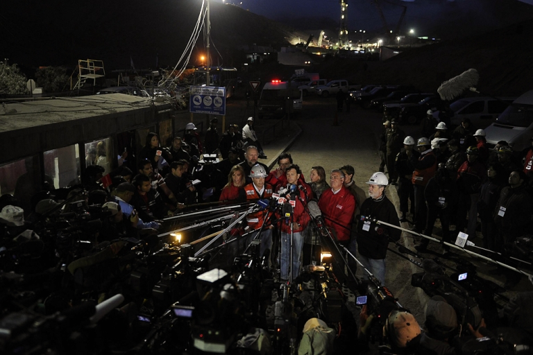 <p>Chilean Mining Minister Laurence Golborne speaks during a press conference at the San Jose mine, near the city of Copiapo, 800 kilometers (480 miles) north of Santiago. Oct. 9, 2010. At the time, 33 miners were trapped within the mine, in the end all were successfully rescued.</p>