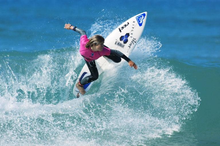 <p>Sofia Mulanovich of Peru dominates the Roxy Pro France Trials.</p>