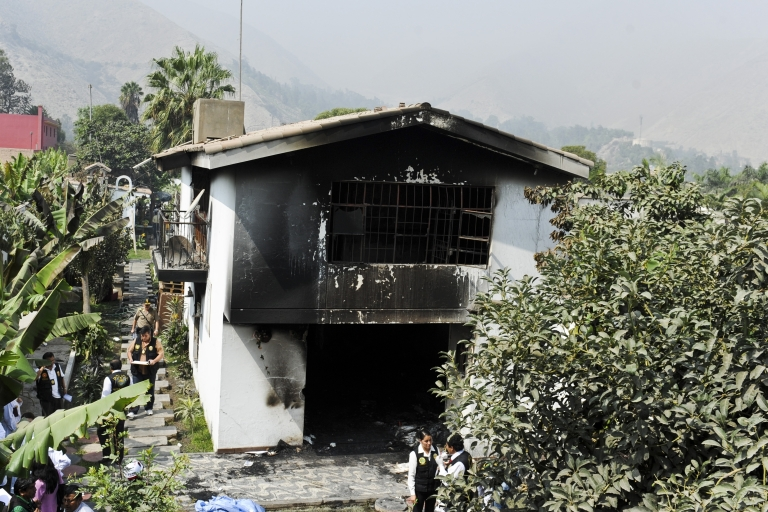 <p>The Sagrado Corazon de Jesus drug rehab in Lima, Peru after a fire swept through killing over a dozen patients locked in their rooms on May 5.</p>