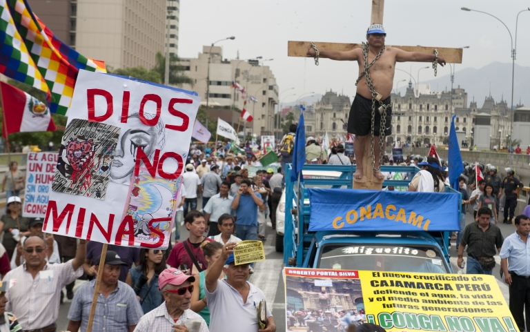 <p>Thousands of people rally in downtown Lima on February 10, 2012, to protest the Conga mining project in northern Peru. Protestors said mining would have a permanent negative effect on the region's water basins. The government eventually halted the project.</p>