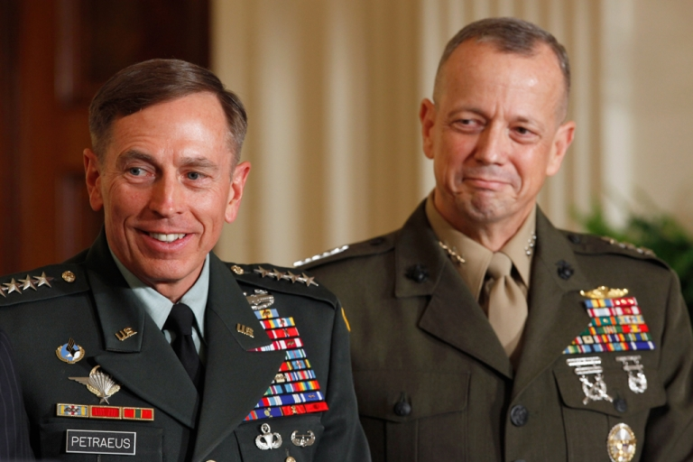 <p>Gen. David Petraeus and Gen. John Allen on April 28, 2011 in Washington, DC. Petraeus resigned his post as CIA Director after news of an extramarital affair emerged, and Allen was also caught up in a related scandal.</p>