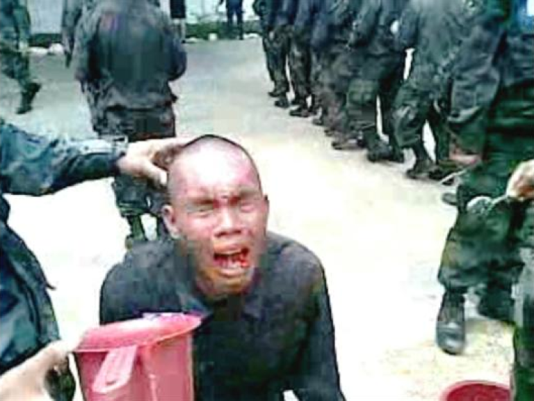 <p>Footage released by the Philippine Commission on Human Rights shows police trainees forced to eat excruciatingly hot chillies. Eight officers have been detained for allegedly carrying out other abuses, including rubbing hot chillies on recruits' genitals.</p>