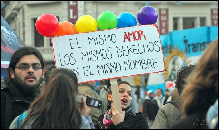 "<p>""The same love, the same rights, with the same name(s)"" was the slogan adopted by the Argentine LGBT Federation (FALGBT) and echoed by supporters from across the country.</p>"
