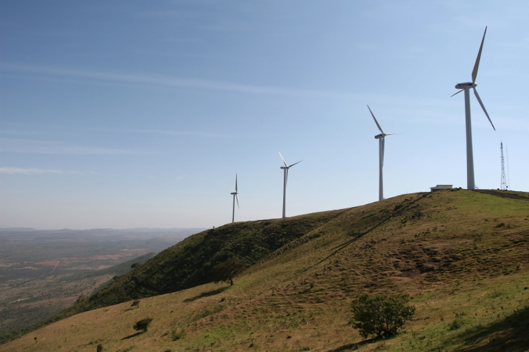 <p>Kenya's first wind farm, on the Ngong Hills, outside Nairobi. It is due to start supplying electricity to the national grid in August. (Tugela Ridley/GlobalPost)</p>