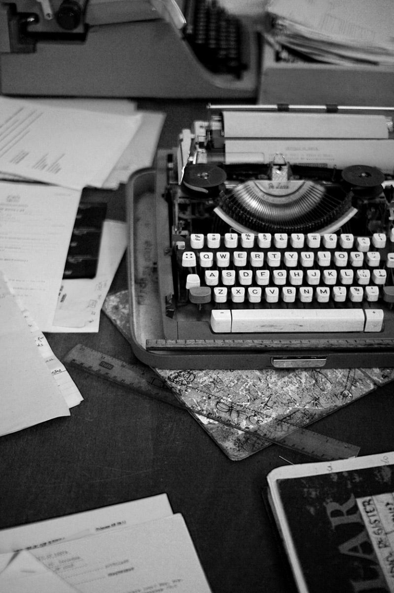 <p>The one working typewriter completes two pages per hour. (Ian MacLellan/GlobalPost)</p>
