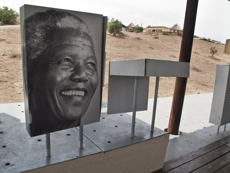<p>A portrait of Nelson Mandela is displayed in the small museum in rural Eastern Cape Province.</p>