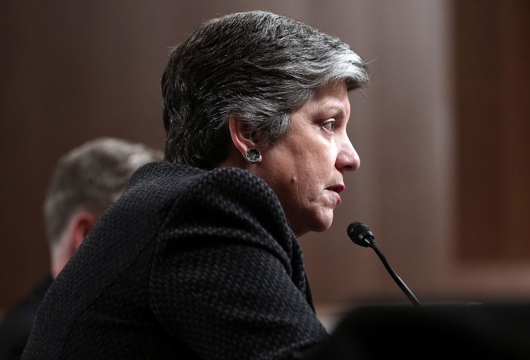 <p>Homeland Security Secretary Janet Napolitano testifies before a Senate Commerce, Science and Transportation Committee and Senate Homeland Security and Governmental Affairs Committee joint hearing on Capitol Hill March 7, 2013 in Washington, DC. Napolitano testified on 'The Cybersecurity Partnership Between the Private Sector and Our Government: Protecting our National and Economic Security.'</p>