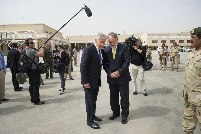 <p>US Secretary of Defense Chuck Hagel (L) talks with US Ambassador to Saudi Arabia Jim Smith as he departs King Khaled International Airport on April 24, 2013 in Riyadh, Saudi Arabia. Whilst in Riyadh, Hagel finalised a major arms deal to provide the Saudi kingdom with sophisticated missiles for its US manufactured fighter jets.</p>