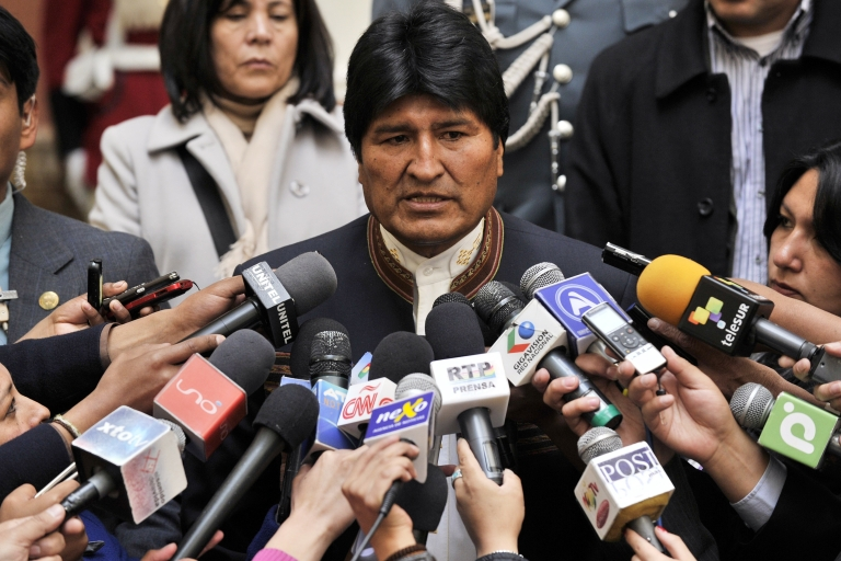 <p>Bolivian President Evo Morales speaks with the press at the Palacio Quemado presidential palace in La Paz, on April 24, 2013. The president's jet was diverted on July 3, 2013, on suspicion that fugitive whistleblower Edward Snowden was somewhere on board.</p>