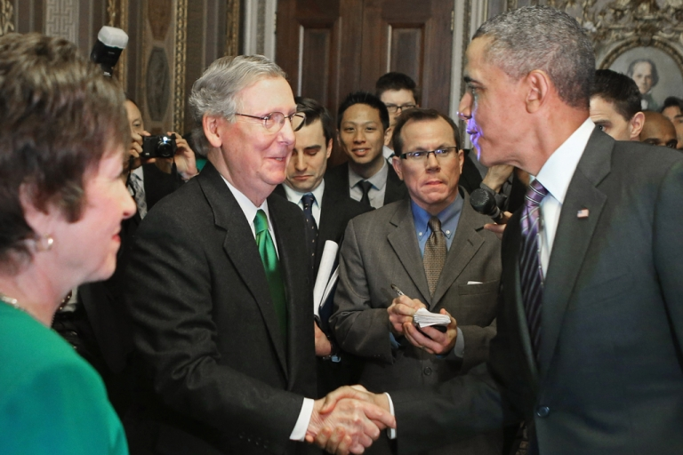 <p>US President Barack Obama (R) is greeted by Senate Minority Leader Mitch McConnell (R-KY) (C) and Sen. Susan Collins (R-ME) as he arrives at the US Capitol for his third day of meetings with members of Congress on March 14, 2013 in Washington, DC. Obama met with Senate Republicans and House Democrats, with tax reform on the agenda.</p>