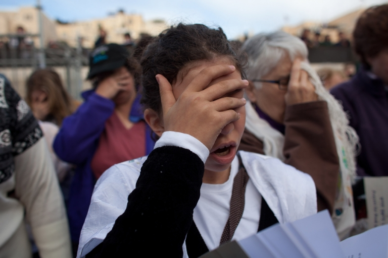 <p>Member of the religious group 'Women of the Wall,' during a prayer marking the first day of the Jewish month of Iyar at the Western Wall on April 11, 2013 in Jerusalem's Old City, Israel. Five members of the organisation 'Women of the Wall' were detained by police during the group's monthly prayer at the Western Wall, after covering themselves with prayer shawls in contradiction to the holy site's custom.</p>