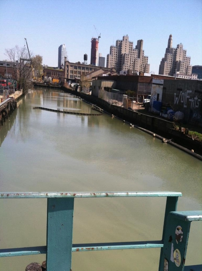 <p>A shot of Brooklyn's heavily-polluted Gowanus Canal.</p>