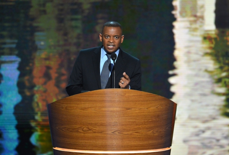 <p>Charlotte Mayor Anthony Foxx speaks at the Time Warner Cable Arena in Charlotte, North Carolina, on September 4, 2012 on the first day of the Democratic National Convention. Foxx is expected to be nominated as the nation's new Transportation Secretary on Monday.</p>
