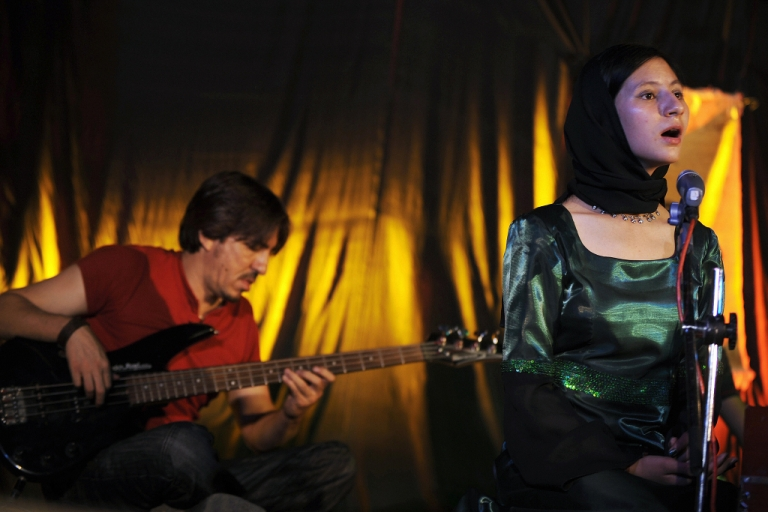 <p>Young Afghan woman singer Noor Jahan Akbar, 17, sings during her first concert at the Foundation for Culture and Civil Society in Kabul on Aug. 9, 2008. Fundamentalists in Afghanistan still frown upon women singing on television but the younger generation seems more open to art and culture. As foreign troops pull out of Afghanistan, the freedom of expression they helped protect may be imperiled.</p>