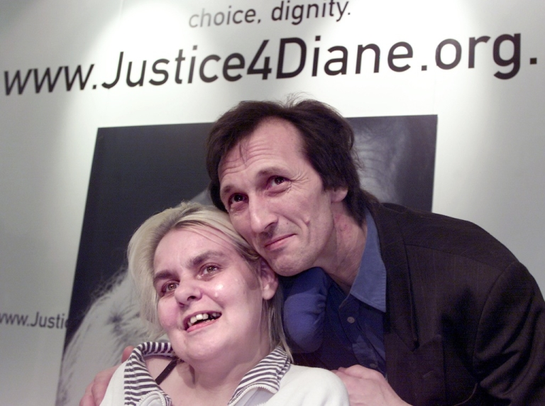 <p>Terminally ill Diane Pretty (L), with her husband Brian, was denied the right-to-die by the European Court of Human Rights in 2002.</p>